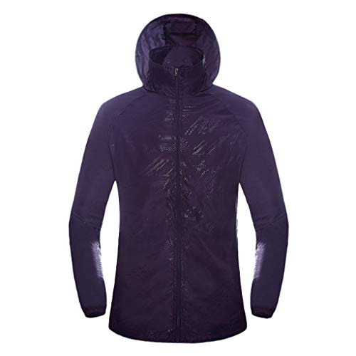 Unisex UV Sun Protection Jacket Waterproof Skin Coat Outdoor Breathable Jacket Multicolor Hooide Purple