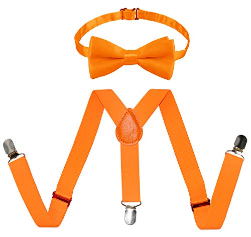 Raylarnia Children Kids Suspenders Bowtie Set,Extra Sturdy Polished Silver Metal Clips,Adjustable Length 1 inches Suspender with Bow Tie Set for Boys and Girls-Orange