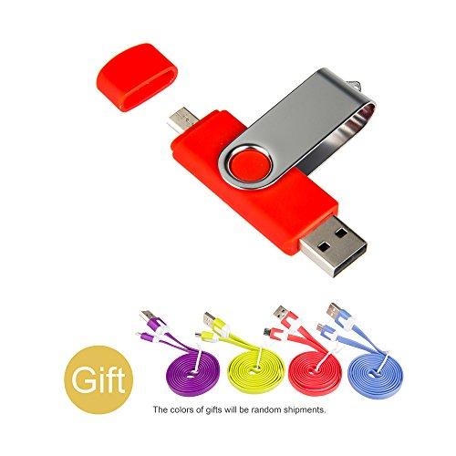 MAXINDA 16GB OTG Micro USB 2.0 Memory Stick USB Flash Drive für Android/PC + Micro Ladekabel (Rote, 16GB)