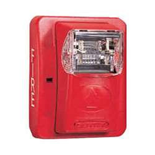 Gentex GEC3-24WR 24VDC Selectable Candela Low Profile Evacuation Horn & Strobe - Red Faceplate