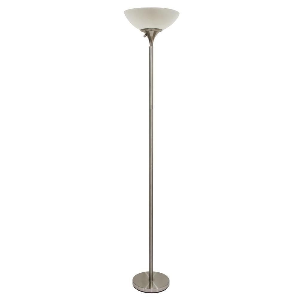 Hampton Bay 71 in. Satin Steel Floor Lamp