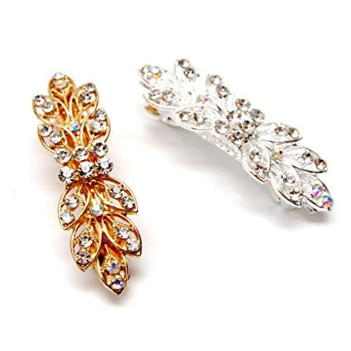Luxxii - Clear Rhinestone Crystal Hair Barrette Clip Hair Pin (Pack 2, Silver,Gold Tone_D)