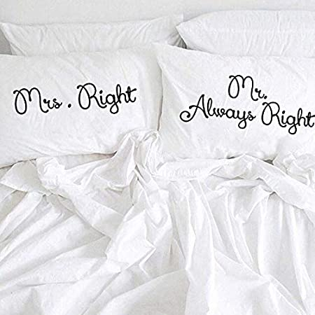 prz0vprz0 V Pack of 2 Mr Right Mrs Always Right Matrimonio Couple, Color Blanco 12 x 20 Inch, Mano Painted, His and ...
