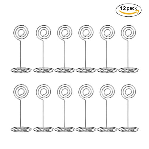 Table Photo - Aieve 12pcs Wire Shape Table Photo Holder Table Number Card Holders Table Pictures Stand for Wedding Party Gatherings Office Desk Memo Table Photo Clips (Silver)
