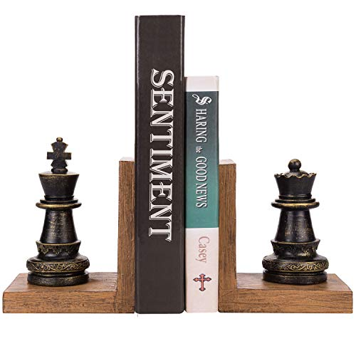 Vintage Brown Royal Chess Pieces King & Queen Figurine Decorative Resin Bookends, Set of 2