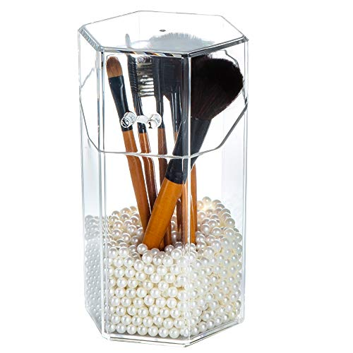 Yoelrsa Cosmetic Brush Holder with Free Pearl, Transparent Acrylic Makeup Box with Dustproof Cover, Large Size (Hexagon, Beige) (Makeup Brush Holder Cover)