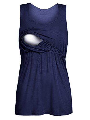 Pinkydot 2 Layers Maternity Nursing Comfy Tank Tops Sleeveless Comfy Breastfeeding Clothes Navy L