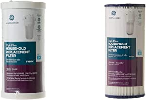 GE FXHTC Whole Home System Replacement Filter, 10.00 x 4.00 x 4.00 inches & GE SmartWater FXHSC GE Replacement Water Whole House Filter, 10&quot (length) x 4.5&quot (diameter)