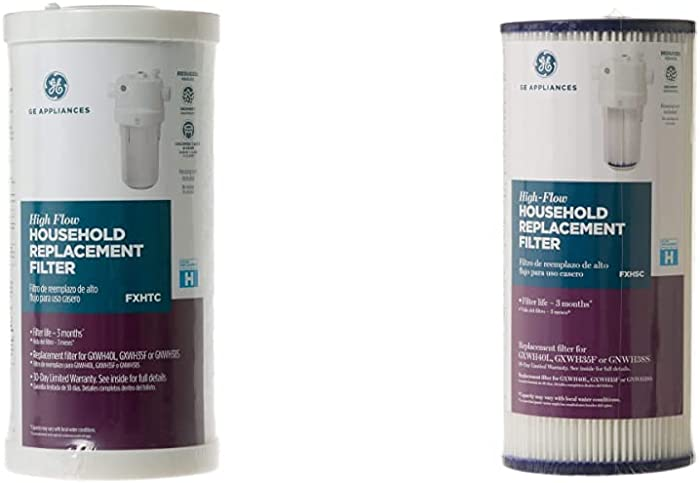"""GE FXHTC Whole Home System Replacement Filter, 10.00 x 4.00 x 4.00 inches & GE SmartWater FXHSC GE Replacement Water Whole House Filter, 10"""" (length) x 4.5"""" (diameter)"""