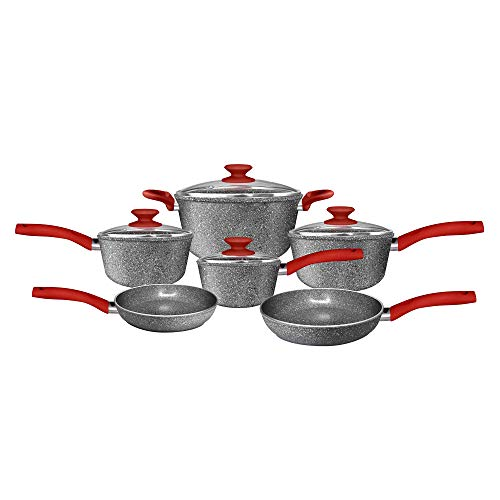 CeraPan Marble Hill Aluminum Non-Stick Cookware Set (10-Piece) - Fry pan Sauce Pan and Dutch Oven Pan Set - Kitchen Pots and Pans Set - Dishwasher Safe
