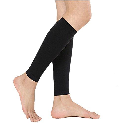 PPXRORO Compression Calf Sleeves 15-20mmHg for Men & Women -Leg Compression Socks for Shin Splint & Leg Pain Relief, Running, Nurses & Maternity.((Black-L) ()