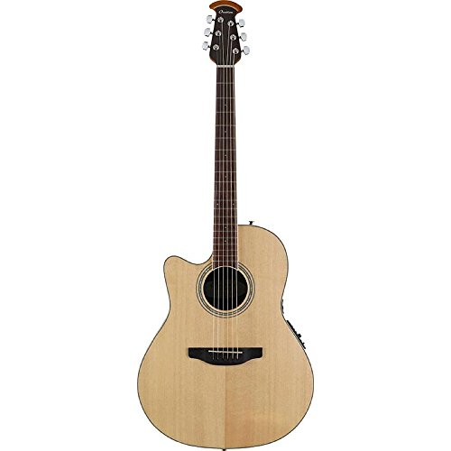 (Ovation Celebrity Collection 6 String Acoustic-Electric Guitar Left, Natural Mid Depth Body CS24L-4)