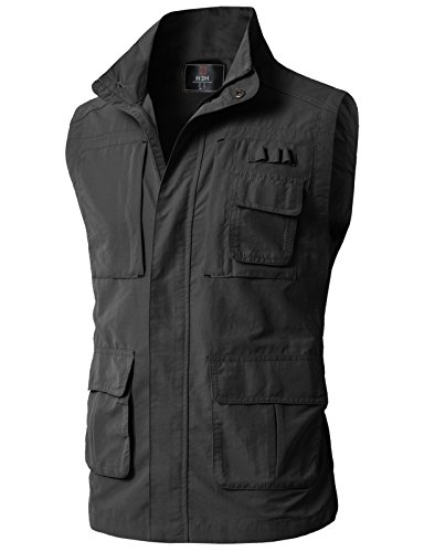 H2H Mens Multi Pockets Mesh Vest Fishing Hunting Waistcoat Travel Photography Jackets Charcoal US M/Asia L (KMOV0152)