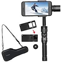 Hohem 3-Axis Gimbal Stabilizer for Smartphones and Gopro Hero 5/4/3 and Yi, iphone X/8 plus, Black