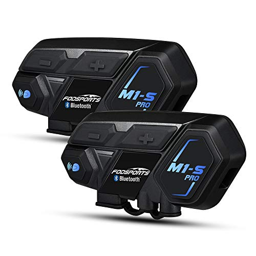 Motorcycle Bluetooth Intercom, Fodsports M1S Pro 2000m 8 Riders Group Motorbike Helmet Communication System Headset Universal Wireless Interphone (Waterproof/Handsfree/Stereo Music/GPS/2 - Helmet Intercom