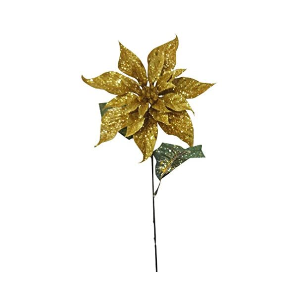 25″ Gold Christmas Poinsettia Spray (Pack of 12)