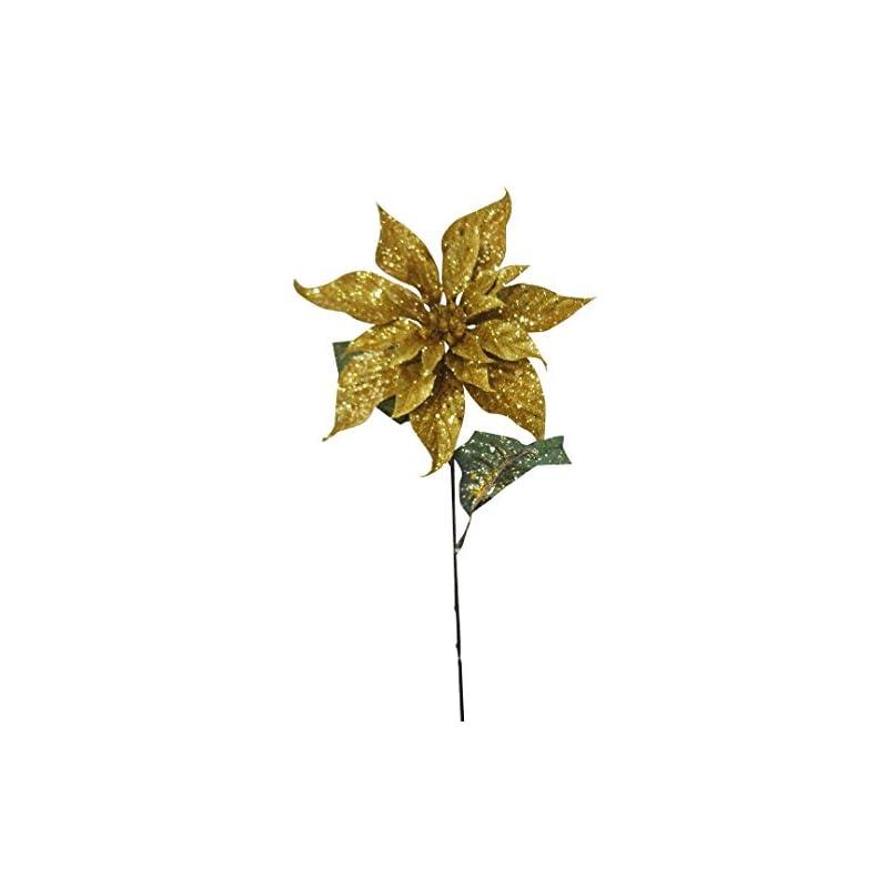 "silk flower arrangements 25"" gold christmas poinsettia spray (pack of 12)"