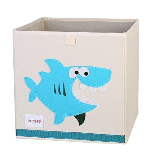ELLEMIO Cartoon Storage Cube Foldable Toy Cloth Book Organizer Box for Kids 13 Inch (Shark)