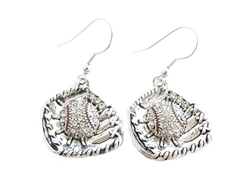 (Baseball Glove and Ball Clear Crystals French Hook Earrings Sports)