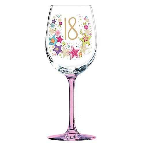 Lulu Design - Copa de vino con diseño de 18 cumpleaños en caja de regalo