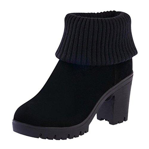Hatop Dames Winter Breien Combatlaarzen Casual Vierkante Hoge Hak Laarzen Zwart