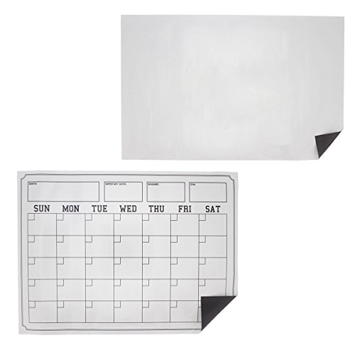 "Magnetic Dry Erase Board Calendar & Whiteboard - 2 Piece Set - Reusable Monthly Planner Calendar & Blank Whiteboard for Kitchen Fridge & Magnetic Surfaces - 17"" x 11"" and 16.25"" x 12"""