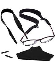 Kalevel 2pcs Neoprene Eyeglass Strap Floating Sunglasses Retainer Eyewear Holder Strap Sport Eye Glasses String Outdoor Glasses Holder for Men Women (Black)