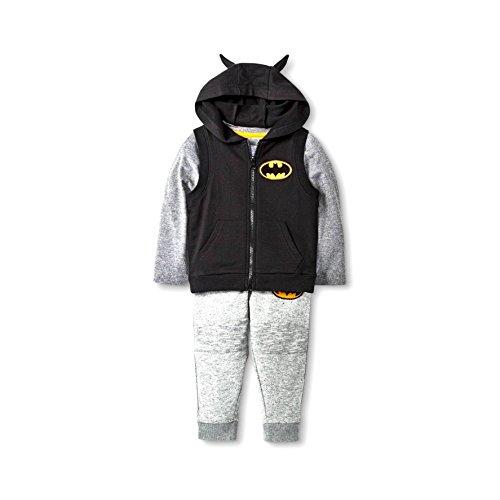 [Size 2T- Batman Outfit For Toddlers-3 Piece-Includes Vest, T-shirt, Sweat Pant] (Boys Batman Outfit)