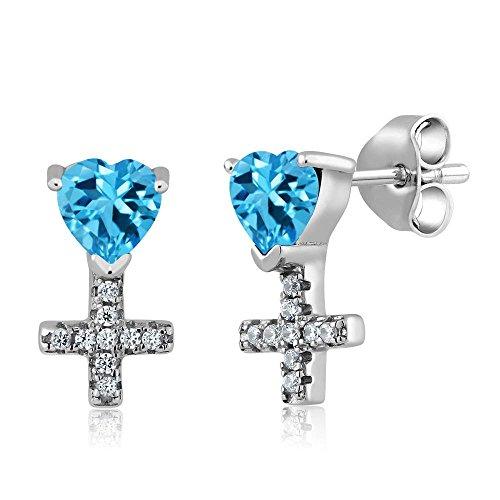 1.34 Ct Heart Shape Swiss Blue Topaz 925 Sterling Silver Cross Earrings