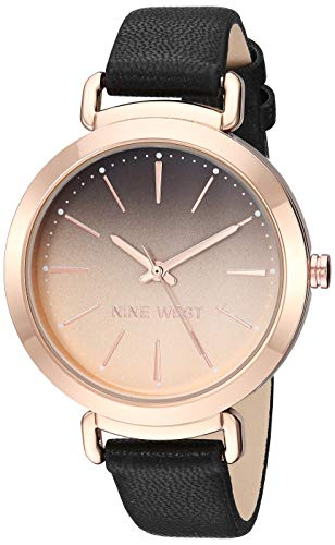 - Nine West Women's NW/2288RGBK Rose Gold-Tone and Black Strap Watch