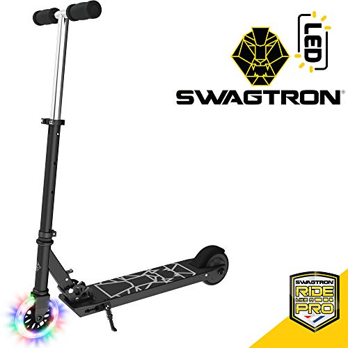 Swagtron Glide SK3 Foldable Electric Scooter w/LED Wheels & Kick-Start Boost & Cruise Motor