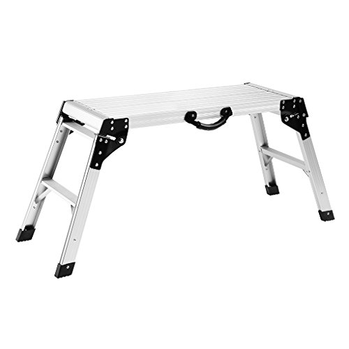 Finether Aluminum Work Platform Drywall Step Up Folding Work Bench|Portable Stool Ladder with Non-Slip Mat and Side - Platform Working