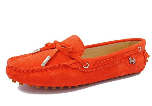 Minitoo - Mocasines para para mujer, estilo Casual, ante, con lazo naranja rojo