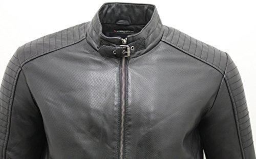 Veste de motard en cuir noir Nappa pour homme