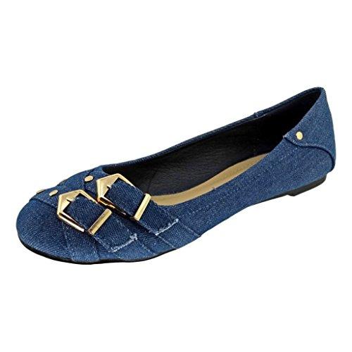 Buckle Accent Ballet Flats (Pierre Dumas Women's Brita-5 Denim Slip-On Buckle Accents Ballet Flats, Blue Denim, 8 B(M) US)