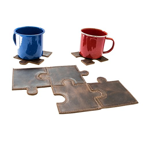 Puzzle Leather Drink Coasters Cup Mats (Set of 6 pieces) Handmade by Hide & Drink :: Bourbon Brown (Concrete Coasters Drink)