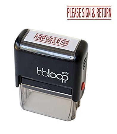 BBloopPLEASE SIGN AND RETURN Self-Inking Stamp. Rectangular. Laser Engraved. RED