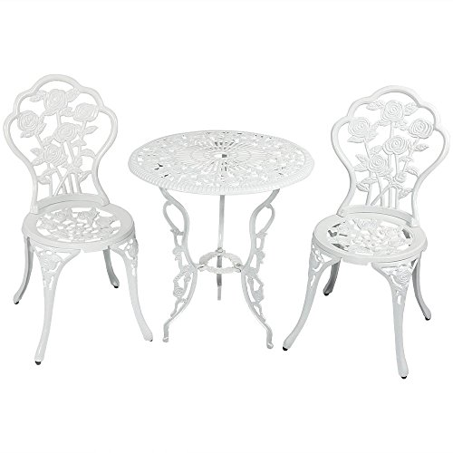 Sunnydaze 3-Piece Flower Designed Bistro Table Set with 2 Chairs, Outdoor Cast Aluminum, White