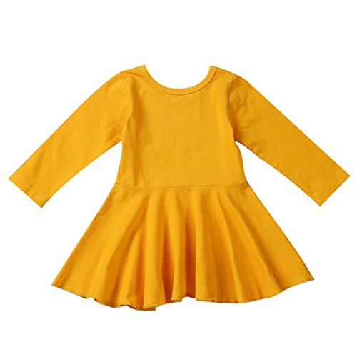 Backless Solid Cotton (Honhui Toddler Baby Girls Solid Cotton Long Sleeve Backless Ruched Dress (100, Yellow))