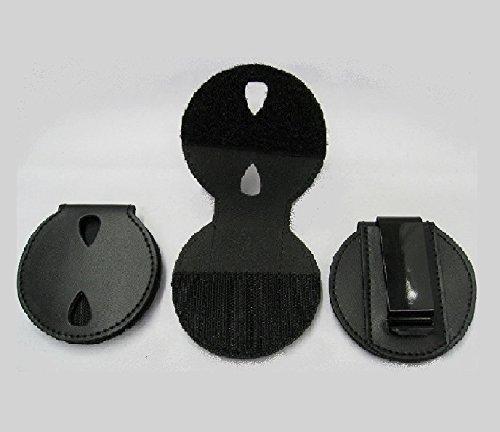 Round Shape Black Leather Police Badge Holder with Belt Clip -