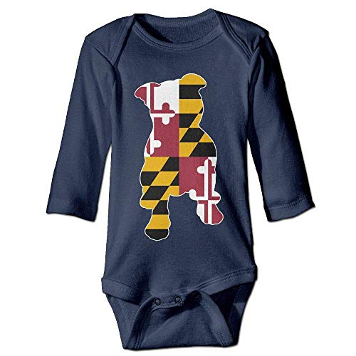 Infant Baby's Long Sleeve Climb Jumpsuit Maryland Flag in Pitbull Print Jumpsuit Onesie Navy]()