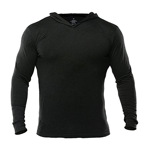 (MUSCLE ALIVE Bodybuilding Long-Sleeve Hoodie Casual Sweatshirts Stretchy Cotton Black Plain Color Size 2XL)