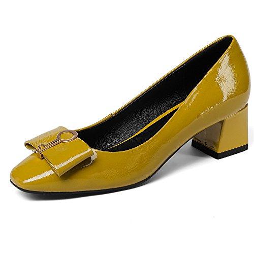 Neuf Sept Femmes En Cuir Véritable Orteils Carrés Talon Chunky À La Mode À La Main Clubbing Pompes Chaussures Nouveau Jaune