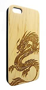Genuine Maple Wood Organic Dragon Animal Snap-On Cover Hard Case for iPhone 5C