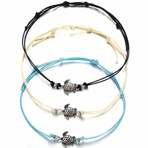 ATIMIGO 3PCS Boho Beach Turtle Rope Anklet Bracelet Handmade Foot Jewelry for Women Teen Girls -