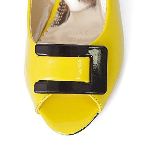 Heels Sandals Patent Toe On Leather Yellow Low Pull AalarDom Solid Peep Womens wnYOx0qCv