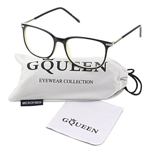 GQUEEN 201579 Fashion Metal Temple Horn Rimmed Clear Lens Glasses,Black Yellow
