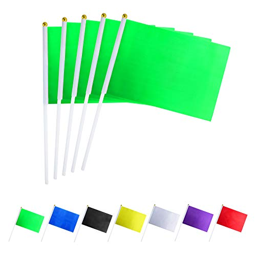 GentleGirl.USA 50 Pack Green Flag, Pure Solid Green Small Mini Banner Banner Flags Stick, Party Color Decoration Parade Supplies, School, Sports Club, International Festival Celebration