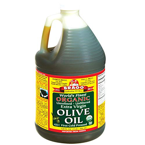 Bragg Organic Extra Virgin Olive Oil – Made with Greek Koroneiki Olives – Cold Pressed EVOO for Marinades & Vinaigrettes – USDA Certified, Non-GMO, Kosher 128 oz