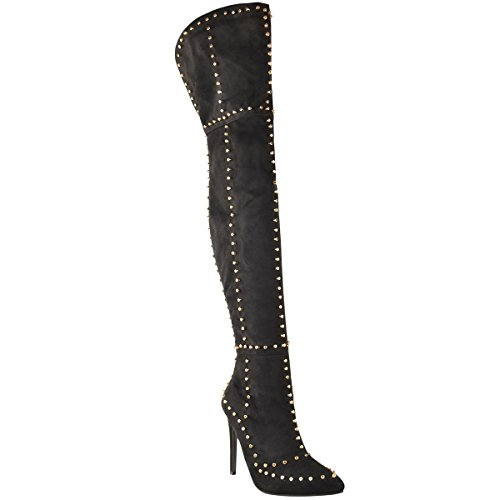 (Fashion Thirsty Womens Gold Studded Thigh High Stiletto Spikes Boots Size 8)